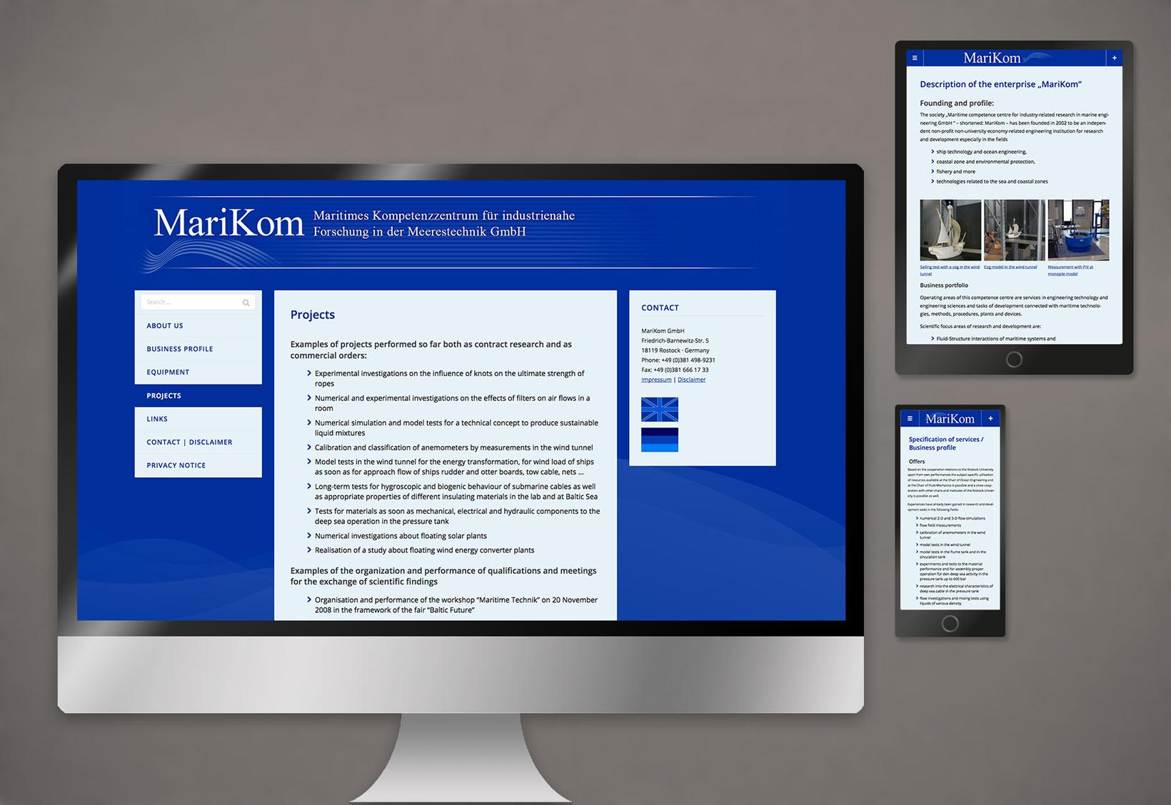 Webdesign Marikom Industrie Foschung Meerestechnik