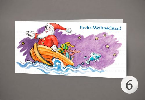6 – Weihnachtsmann auf Boot – Illustration