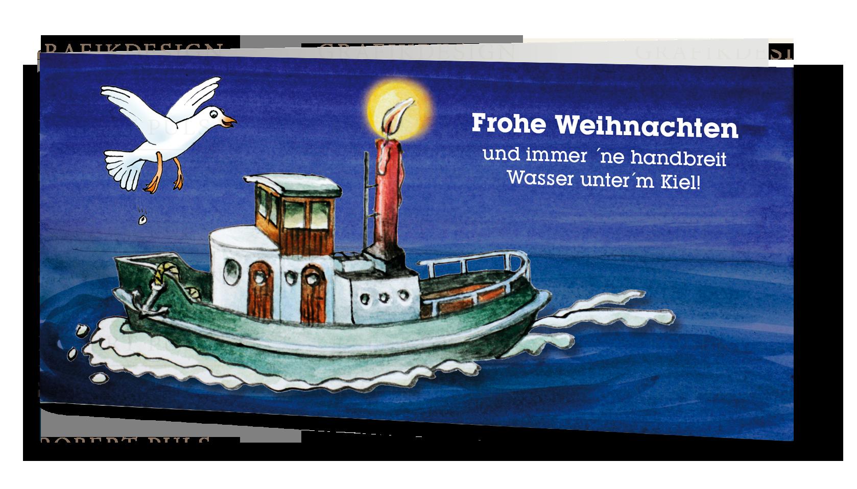 Weihnachtskarte maritim Kutter Möwe