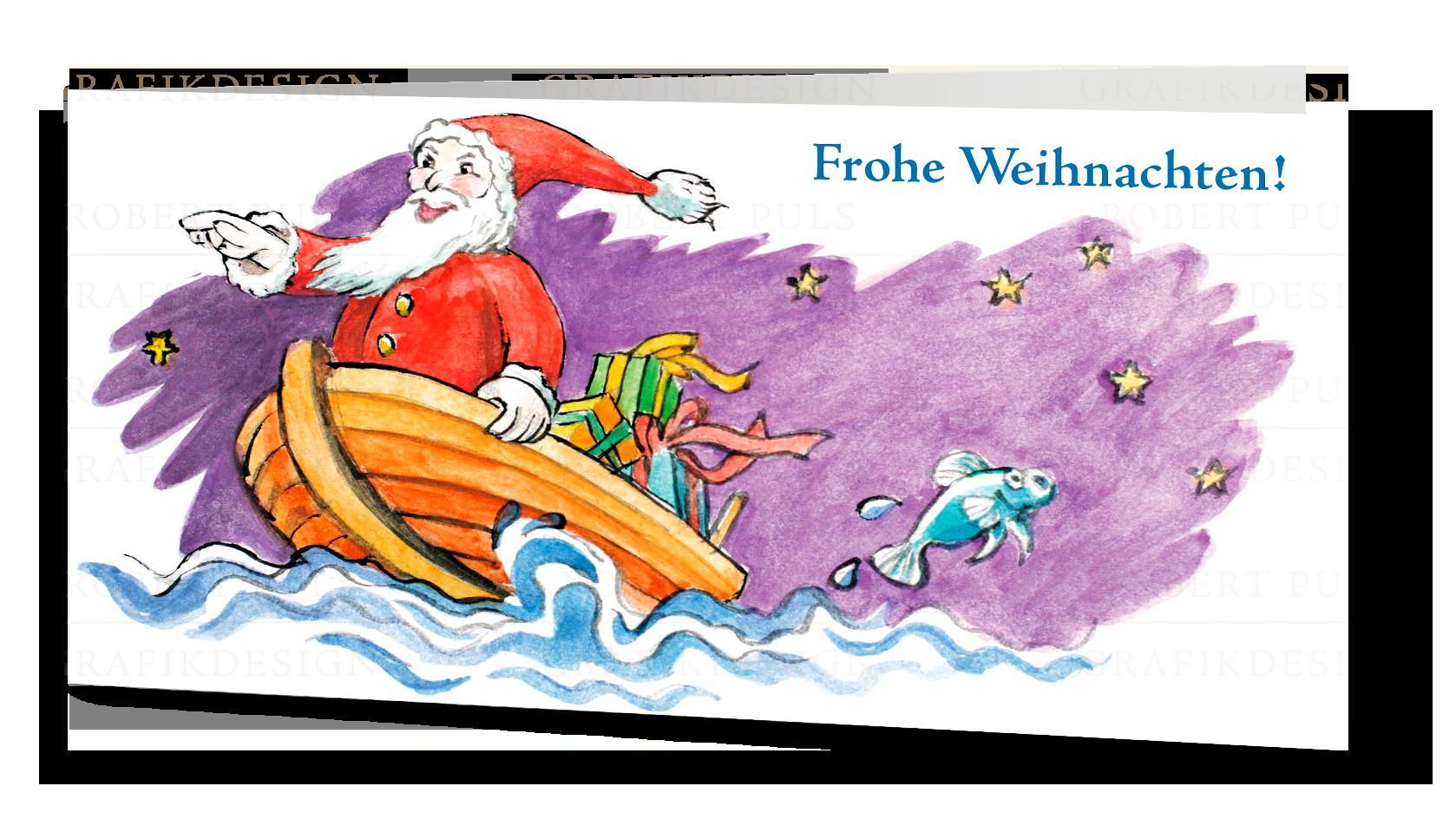 Weihnachtskarte maritim Boot Meer Fische