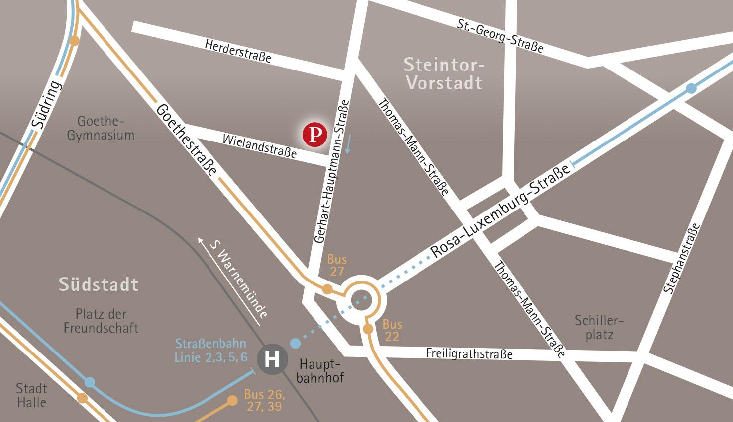 Anfahrt Puls Grafikdesign Rostock am Hauptbahnhof