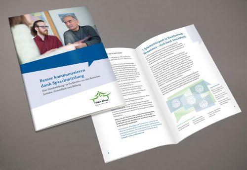 """Gestaltung Layout Titel Innenseite Broschüre """"Besser kommunizieren dank Sprachmittlung"""""""