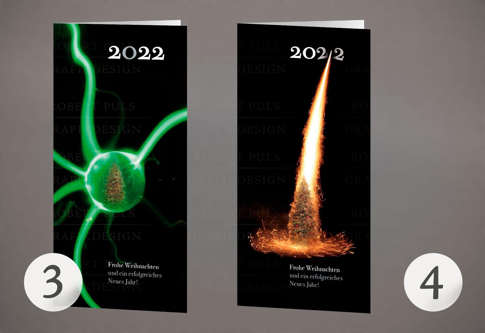 3 – Weihnachtskugel – Foto | 4 – Rakete – Foto, individuelle Weihnachtskarten